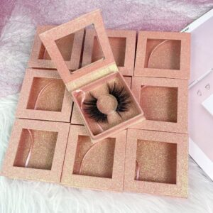 Glitter Pink Square Lash Boxes Wholesaler Eyelash Boxes Factory