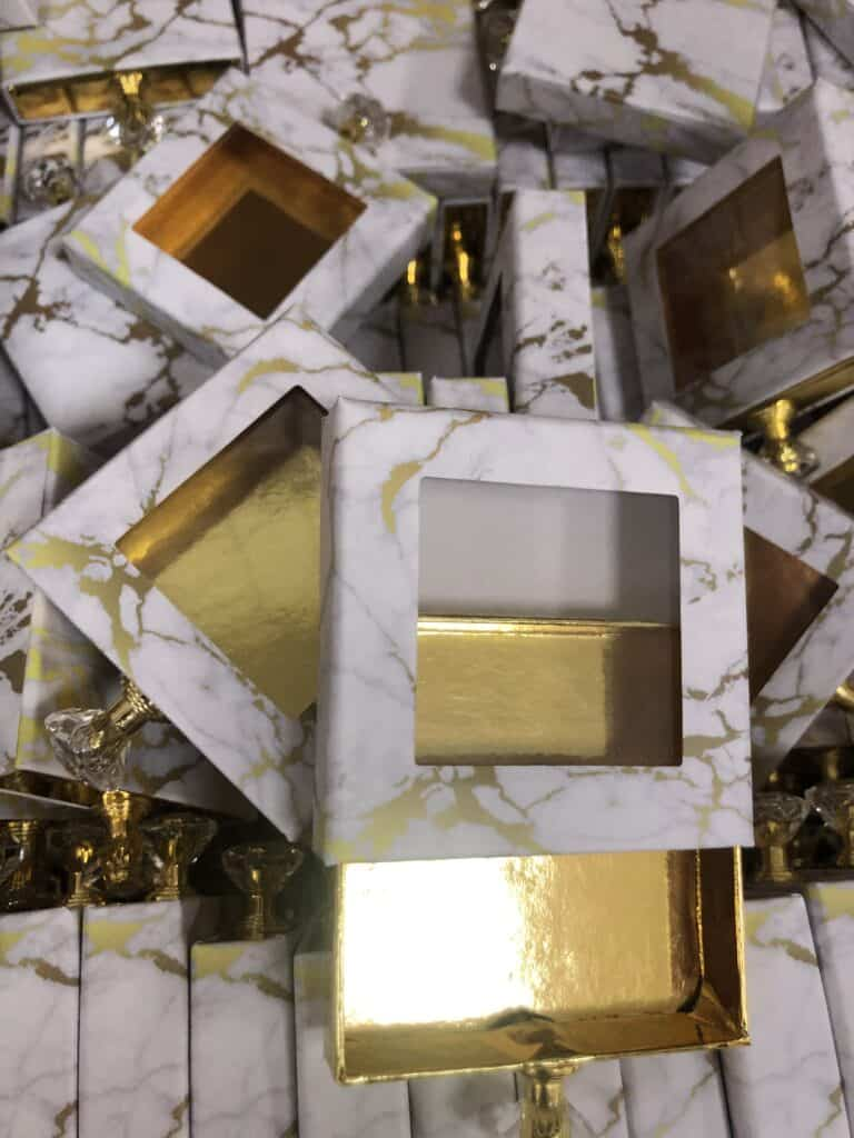 Square Gold Marble Custom Eyelash Packaging